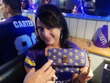christine cloutier with MN Vikings Dooney & Bourke Purse