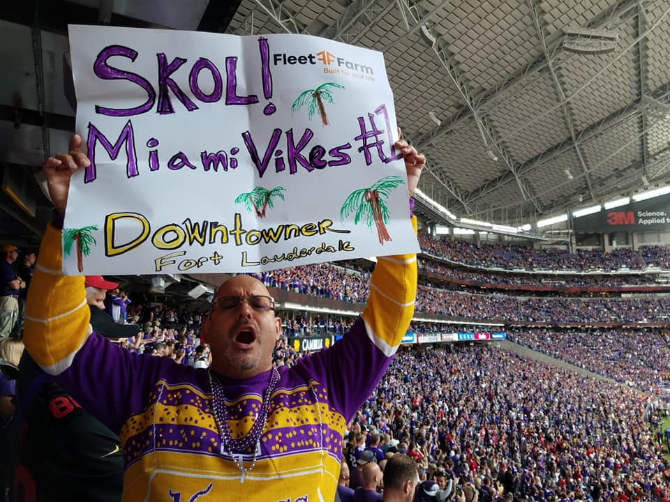 MIAMI VIKES - South Florida MN Vikings Fan Club being represented at US Bank Stadium in Minnesota for the 9/9/18 Season Opener Game against the 49ers