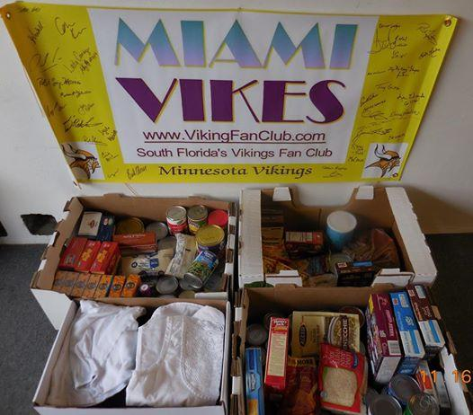 Harvest food drive. MIAMI VIKES South Florida Vikings did it again by collecting food at Champp's Americana in Ft Lauderdale on 11/15/15